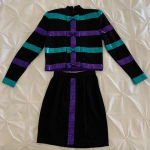 St John Top and Skirt with Purple and Teal Bows